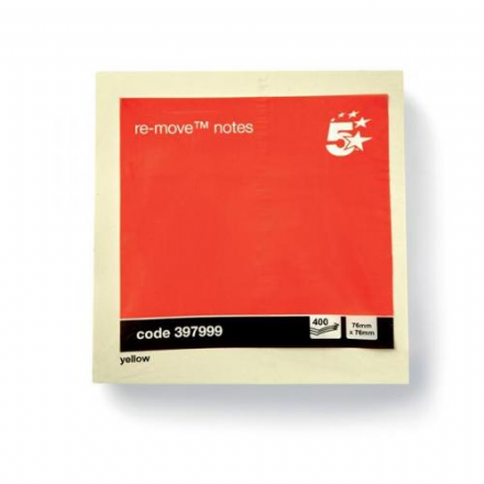 5 Star Post-it Re-Move Notes Cube Pad of 400 Sheets 76x76mm Yellow